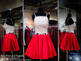 Ivory/Red Two-Piece Short Homecoming Dress - Rsvp DJ - Short Dress - Rsvp Prom and Pageant - 1