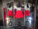 Ivory/Red Two-Piece Short Homecoming Dress - Rsvp DJ - Short Dress - Rsvp Prom and Pageant - 4
