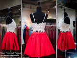 Ivory/Red Two-Piece Short Homecoming Dress - Rsvp DJ - Short Dress - Rsvp Prom and Pageant - 2