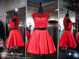 Red Two-Piece Short Homecoming Dress - Rsvp DJ - Short Dress - Rsvp Prom and Pageant - 1