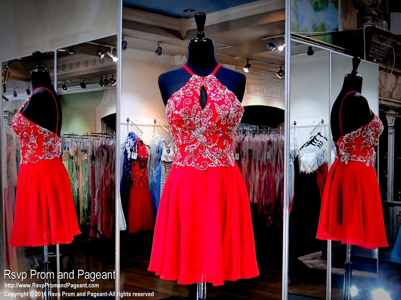Red High Neckline Drop Waist Short Dress / Rsvp Prom and Pageant, Atlanta, GA / Best Prom Store in Atlanta / #Promheaven