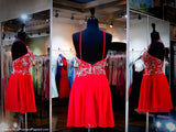 Red High Neck Drop Waist Chiffon Homecoming Dress - Rsvp EC - Short Dress - Rsvp Prom and Pageant - 2