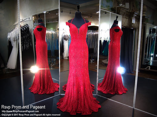 Red Off Shoulder Lace Prom Dress - Rsvp COL - Long Gown - Rsvp Prom and Pageant Atlanta, Georgia GA - 1