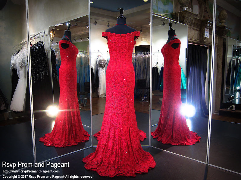 Red Off Shoulder Lace Prom Dress - Rsvp COL - Long Gown - Rsvp Prom and Pageant Atlanta, Georgia GA - 3