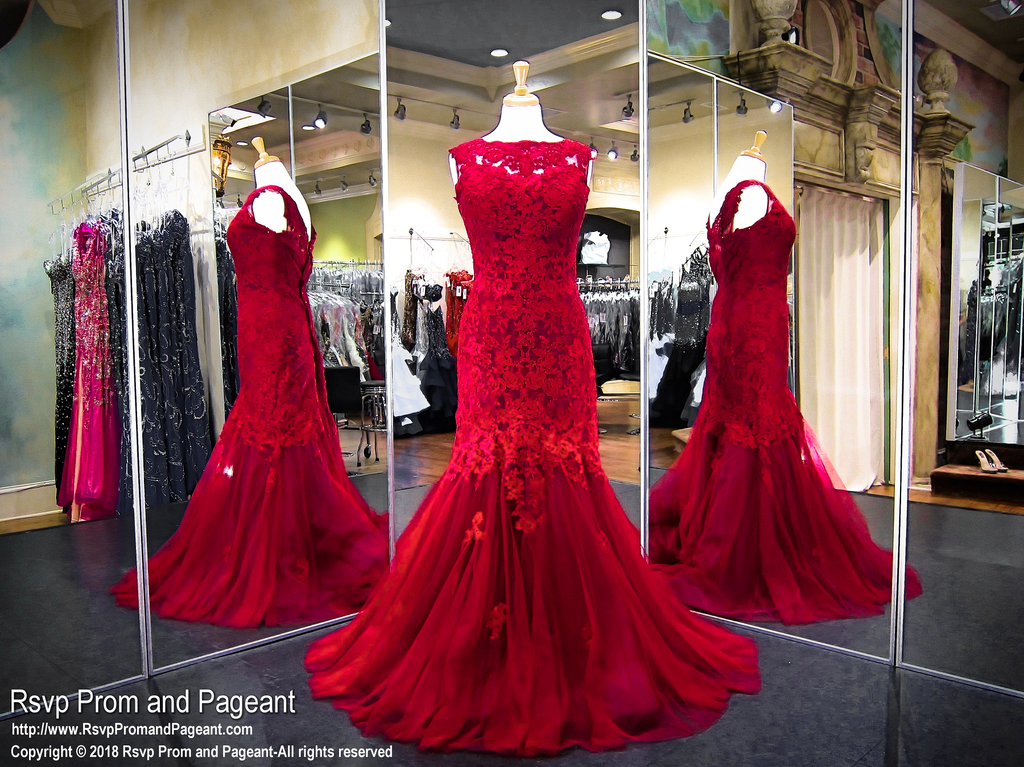 b20aea5ecc Red Lace PLUS High Neck Mermaid Prom Dress / Rsvp Prom and Pageant