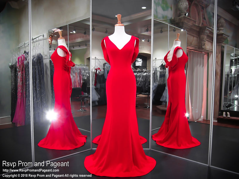 Red V-Neck Cap Sleeves Illusion Back Evening Gown 118EC0181380 / Rsvp Prom and Pageant / Best Prom Store / #PromHeaven