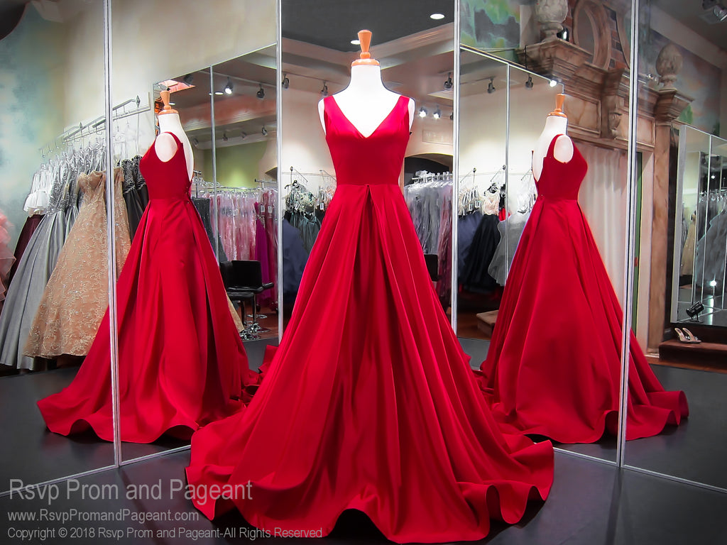 Red Satin V Neck Ball Gown Prom Dress Rsvp Prom And Pageant