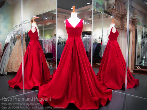 Red Satin V-Neck Ball Gown Prom Dress 118JC062320 / Rsvp Prom and Pageant / Best prom Dresses in Atlanta / #Promheaven