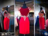 Red Cap Sleeved Form Fitting Homecoming Dress / Rsvp Prom and Pageant, Atlanta, GA / Best Prom Store in Atlanta / #Promheaven
