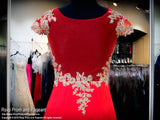 Red Cap Sleeved Form Fitting Homecoming Dress - Rsvp Prom and Pageant, Atlanta, GA
