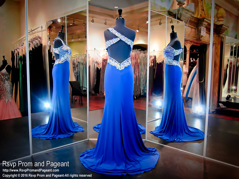 Royal One-Shoulder Jersey Prom Dress / Rsvp Prom and Pageant, Atlanta, GA / Best Prom Store in Atlanta / #Promheaven