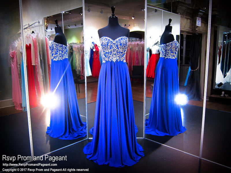 Royal Sweetheart Chiffon Strapless Prom Dress - Rsvp CLAR - Long Gown - Rsvp Prom and Pageant Atlanta, Georgia GA - 1