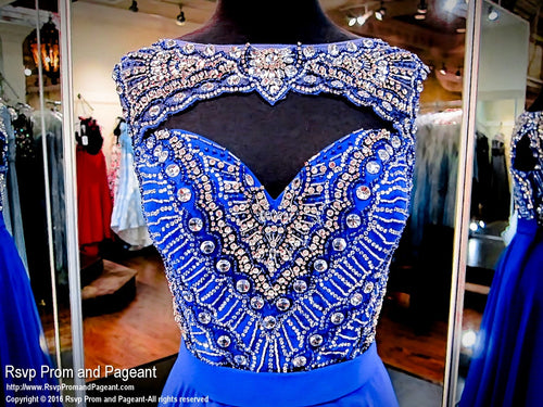 Royal Beaded High Neckline Chiffon Prom Dress / Rsvp Prom and Pageant, Atlanta, GA / Best Prom Store in Atlanta / #Promheaven