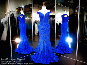 Royal Lace Fitted Off-the-Shoulder Prom Dress - Rsvp CLAR - Long Gown - Rsvp Prom and Pageant Atlanta, Georgia GA - 1