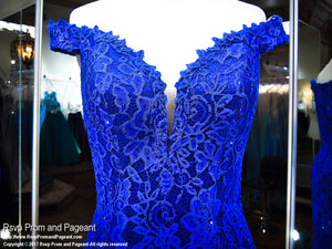 Royal Lace Fitted Off-the-Shoulder Prom Dress - Rsvp CLAR - Long Gown - Rsvp Prom and Pageant Atlanta, Georgia GA - 3