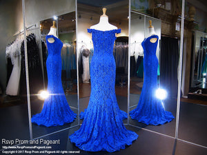 Royal Lace Fitted Off-the-Shoulder Prom Dress - Rsvp CLAR - Long Gown - Rsvp Prom and Pageant Atlanta, Georgia GA - 2