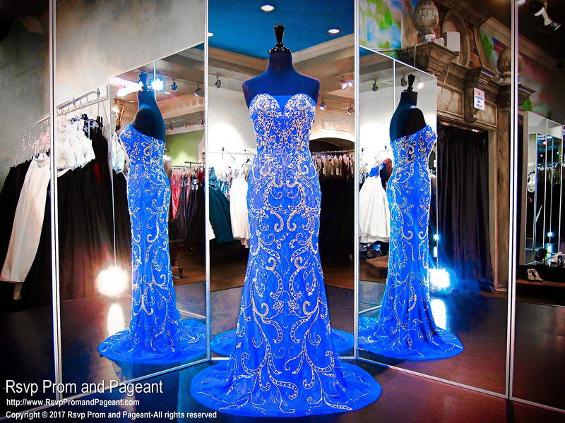 Royal Sweetheart Strapless Beaded Lace Prom Dress - Rsvp EC - Long Gown - Rsvp Prom and Pageant Atlanta, Georgia GA - 1 - BEST PROM STORE