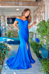 Royal Off The Shoulder With Slit Prom Dress at Rsvp Prom and Pageant, the largest Atlanta Prom Dress store also known as #Promheaven