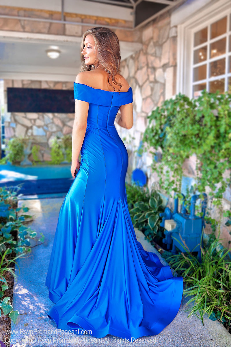 Back of Royal Off The Shoulder With Slit Prom Dress at Rsvp Prom and Pageant, the largest Atlanta Prom Dress store also known as #Promheaven