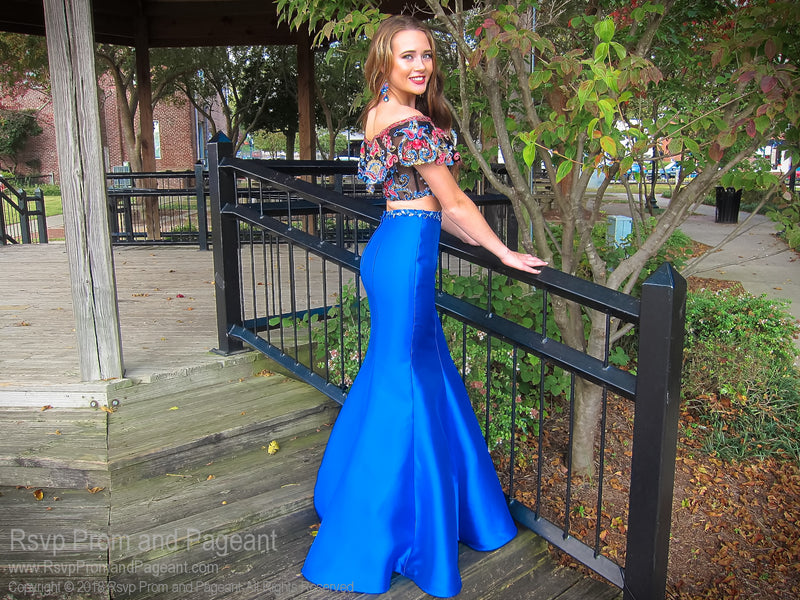 Royal/Multi Bohemian Off The Shoulder Two Piece Mermaid Prom Dress 118EW01180250 / Rsvp Prom and Pageant / Best Prom Store in Atlanta / #Promheaven