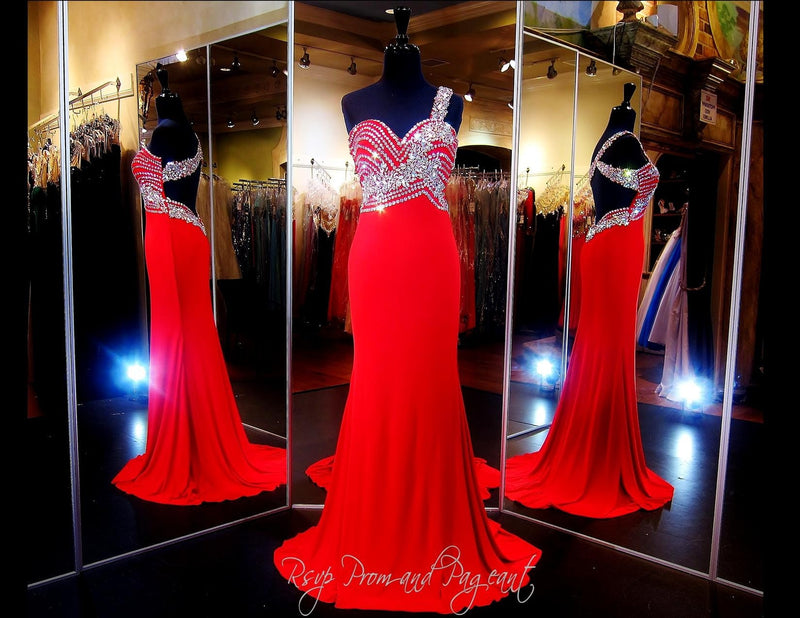 Red Jersey One Shoulder Prom Dress Beaded Sweetheart Neckline - Rsvp EC - Long Gown - Rsvp Prom and Pageant Atlanta, Georgia GA - 1