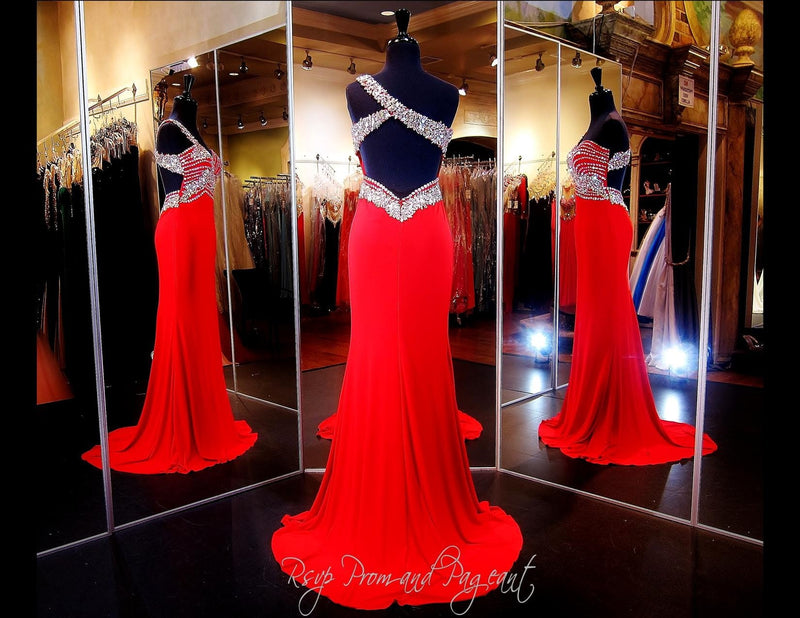 Red Jersey One Shoulder Prom Dress Beaded Sweetheart Neckline - Rsvp EC - Long Gown - Rsvp Prom and Pageant Atlanta, Georgia GA - 3