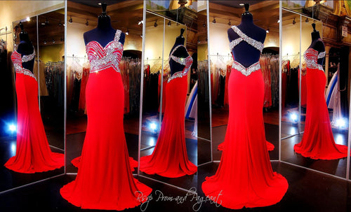 Red Jersey One Shoulder Prom Dress Beaded Sweetheart Neckline - Rsvp EC - Long Gown - Rsvp Prom and Pageant Atlanta, Georgia GA - 2