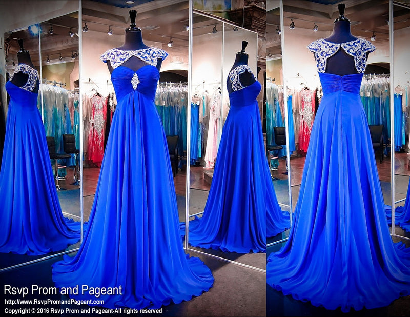 Royal Blue Chiffon Evening Gown-Beaded Neckline-Cap Sleeves-Keyhole Back / Rsvp Prom and Pageant, Atlanta, GA / Best Prom Store in Atlanta / #Promheaven