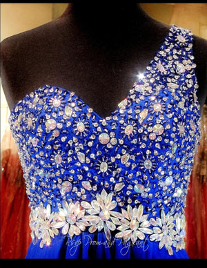 Royal Blue Prom Dress - Beaded One Shoulder - Open Back / Rsvp Prom and Pageant, Atlanta, GA / Best Prom Store in Atlanta / #Promheaven