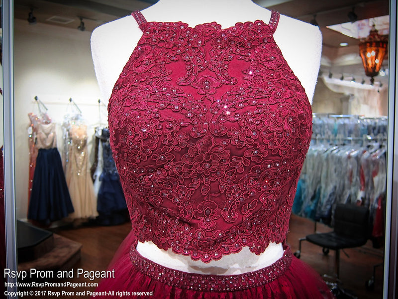 Sangria Lace High Neckline Two Piece Homecoming Dress 117BP0113610 / Rsvp Prom and Pageant / Best Prom Store