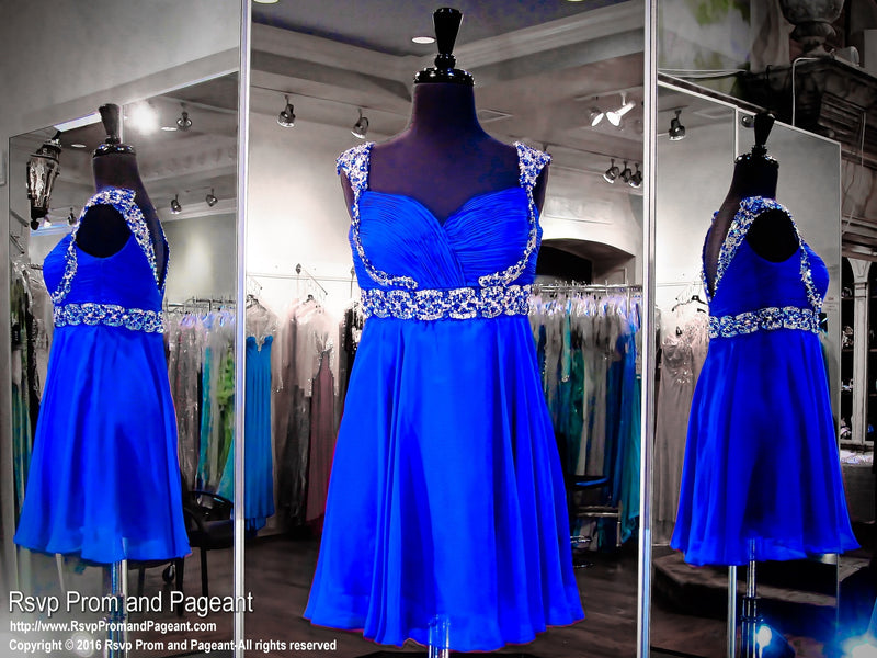 Sapphire Cap Sleeved Chiffon Dress (SALE) - Rsvp DJ - Short Dress - Rsvp Prom and Pageant Atlanta, Georgia GA - 1