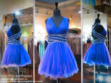 Sapphire V-Neck Open Back Beaded Homecoming Dress - Rsvp DJ - Short Dress - Rsvp Prom and Pageant - 1