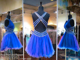 Sapphire V-Neck Open Back Beaded Homecoming Dress - Rsvp DJ - Short Dress - Rsvp Prom and Pageant - 2