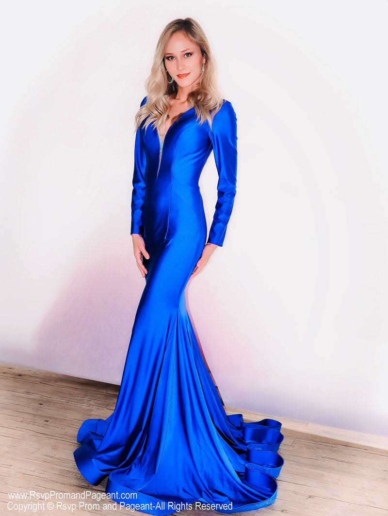 Royal V Neckline Long Sleeve Fit and Flare Prom Dress