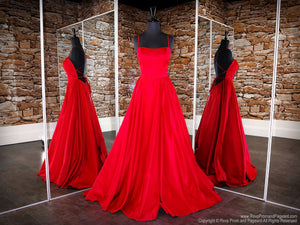 Front of Red Open Back A-line with Slit Prom Dress at Rsvp Prom and Pageant, the largest Atlanta Prom Dress Store also known as Promheaven