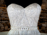Bodice of Champagne Ombre Strapless Sweetheart Neckline Prom Dress at Rsvp Prom and Pageant, the largest Atlanta Prom Store also known as Promheaven