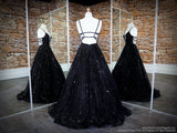 Back of Black V Neckline Ball Gown Prom Dress at Rsvp Prom and Pageant, the largest Atlanta Prom store also known as Promheaven