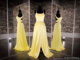 Yellow Halter Neckline With A Slit Prom Dress at Rsvp Prom and Pageant, the largest prom dress store also known as promheaven