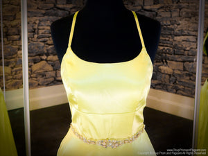 Front of Yellow Halter Neckline With A Slit Prom Dress at Rsvp Prom and Pageant, the largest prom dress store also known as promheaven