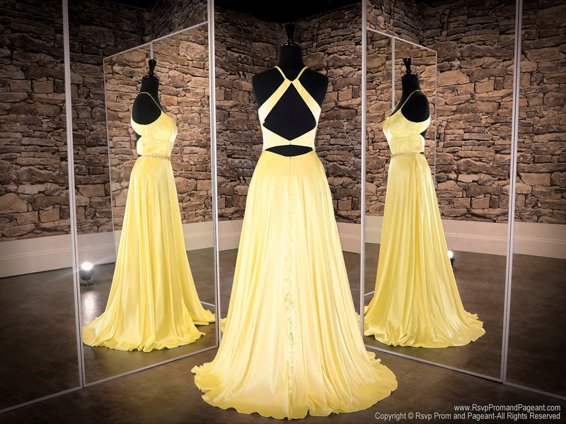 Back of Yellow Halter Neckline With A Slit Prom Dress at Rsvp Prom and Pageant, the largest prom dress store also known as promheaven