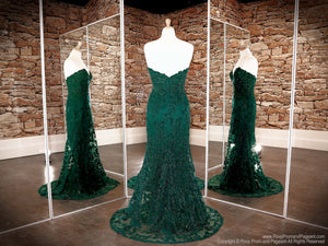 Back of Emerald Sweetheart Neckline Strapless Prom Dress at Rsvp Prom and Pageant, the largest Atlanta Prom Dress store also known as promheaven