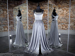 Platinum Satin Halter Neckline With A Slit Prom Dress