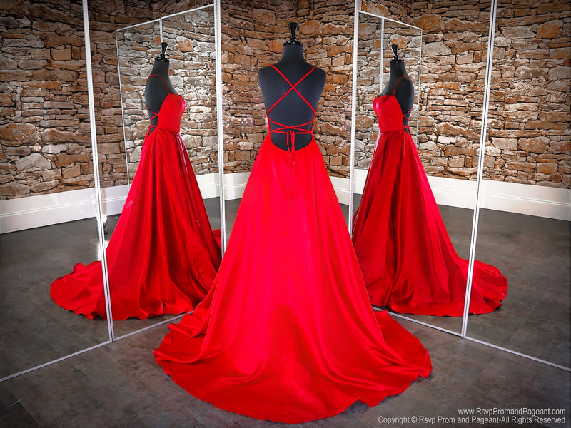 Back of Red Open Back A-line with Slit Prom Dress at Rsvp Prom and Pageant, the largest Atlanta Prom Dress Store also known as Promheaven