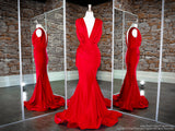 Front of Red Low V Neck Low Back Fit And Flare Prom Dress at Rsvp Prom and Pageant, the Atlanta prom dress store also known as promheaven