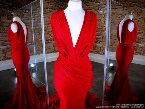 Bodice of Red Low V Neck Low Back Fit And Flare Prom Dress at Rsvp Prom and Pageant, the Atlanta prom dress store also known as promheaven