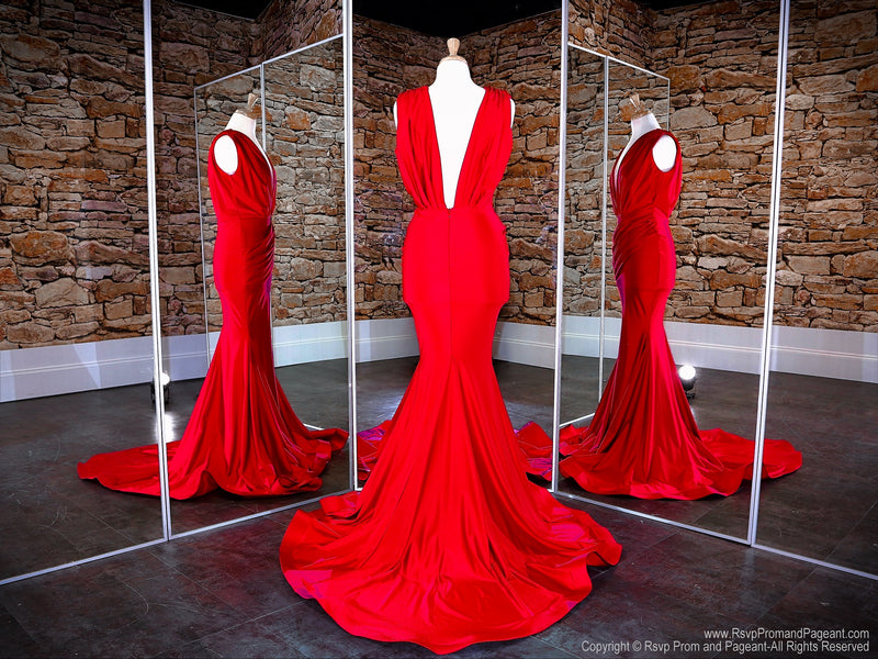 Back of Red Low V Neck Low Back Fit And Flare Prom Dress at Rsvp Prom and Pageant, the Atlanta prom dress store also known as promheaven