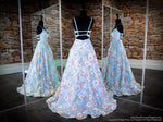 Back of Powder Blue/Multi V Neckline Open Back Ball Gown Prom Dress at Rsvp Prom and Pageant, the largest Atlanta prom dress store also known as promheaven
