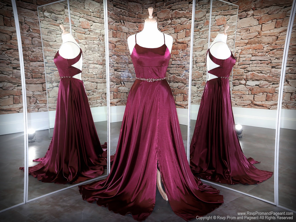 Wine Halter Neckline With A Slit Prom Dress at Rsvp Prom and Pageant, the largest Atlanta prom dress store also known as promheaven