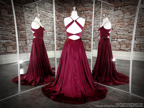 Back of Wine Halter Neckline With A Slit Prom Dress at Rsvp Prom and Pageant, the largest Atlanta prom dress store also known as promheaven