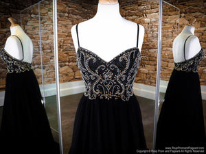 Front of Black/Gold Sweetheart Neckline Open Back Prom Dress at Rsvp Prom and Pageant, the largest Atlanta Prom Dress Store alson known as promheaven